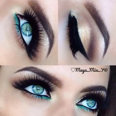 Neutral eyeshadow with a pip of teal♡♢