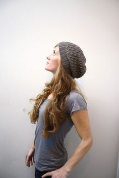 knitted slouchy lacey hat ~ jane richmond