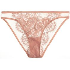I.D. Sarrieri Jamais le Premier Soir tulle and Chantilly lace briefs featuring polyvore, women's fashion, clothing, intimates, panties, lingerie, underwear, brief, undies, transparent lingerie, underwear panties, sheer lace panties, transparent panties and lace panty