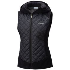 Columbia Black Warmer Days Hooded Vest - Women's ($50) ❤ liked on Polyvore featuring outerwear, vests, black, columbia vest, vest waistcoat, columbia, quilted vest and hooded vest
