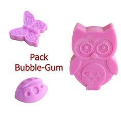 Pack 3 Cires Parfumées Bubble-Gum Hibou Papillon Coccinelle Cire Végétale Naturelle Parfum d'ambiance Cire à Fondre : Luminaires par fondants-de-cire-parfumes-fleur-artifice