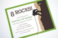 Rock Climbing Theme Handmade Birthday Party Invitation. $19.50, via Etsy.