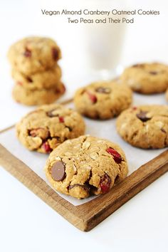 Recipe for Healthy Almond Cranberry Oatmeal Cookies on twopeasandtheirpod.com We LOVE these vegan cookies!