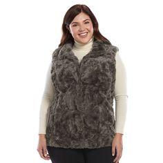 Plus Size Weathercast Faux-Fur Vest, Women's, Size: 2XL, Grey