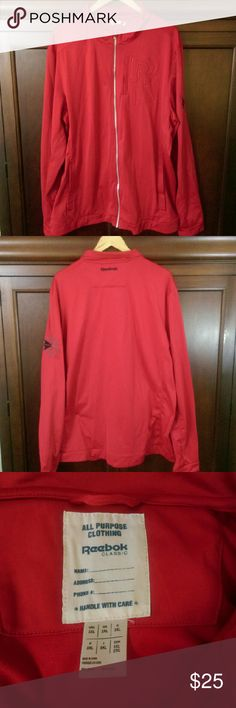 Reebok Classic Men's Red Jacket Full Zip, lightweight jacket. 3 pockets, one on chest is zippered. Small black line at top of left sleeve-see pic 4. Size 2XL. 100% polyester. Reebok Jackets & Coats