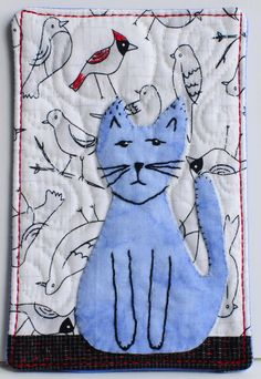 Cat Fabric Postcard by @shieldskristin #handmade #mailart