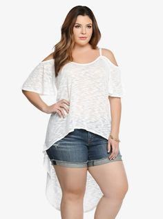 Oh, yeah! It's time to have fun showing a little skin. In pretty ivory, a soft slub knit gives this semi-sheer tank a textured appearance. Short flutter sleeves and a long hi-lo hem create the perfect trendy finish.