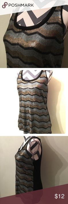 Express sequin tank top black tank top with black, gold and grey sequins in a chevron-ish pattern :) size small. Express Tops Blouses