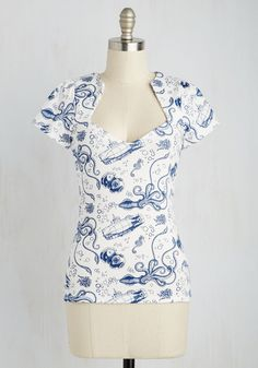Ooh La La Lady Top in Maritime. Well look at you, feeling fabulous and fashionable in your new retro top! #white #modcloth