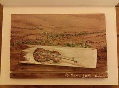 A violin in the field