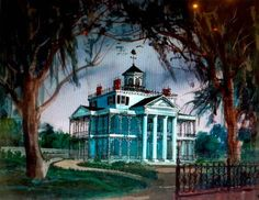 1960s tomorrowland terrace | Below, a less known concept-art for Disneyland's Haunted Mansion