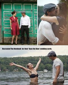 "they recreated scenes from ""The Notebook"" for their save the date. Cute!"