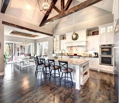 Browse all floor plans designed by Starr Homes for our custom homes in Kansas City. Modern Farmhouse Kitchens, Farmhouse Kitchen Decor, Home Decor Kitchen, Kitchen Living, New Kitchen, Home Kitchens, Kitchen Ideas, Kitchen Layout, Lake House Kitchens