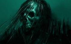 Death - green, skull, fantasy, death