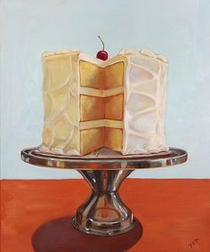 Three Layer Cake - artist Terry Romero Paul. Oil painting