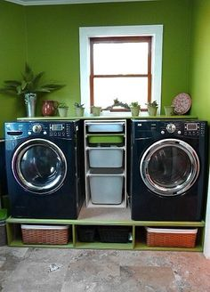 Need a bright laundry room to have motivation...neat storage underneath!