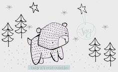 bear by vicky riley Bear Illustration, Pattern Illustration, Animal Art Prints, Baby Posters, Bear Drawing, Doodle Lettering, Animal Magic, Cute Doodles, Painted Books