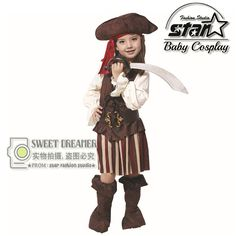 Girls Deluxe Pirate of the Caribbean Costume Cosplay For Kids Halloween Masquerade Party Costumes Carnival Stage Dress M L XL #Affiliate