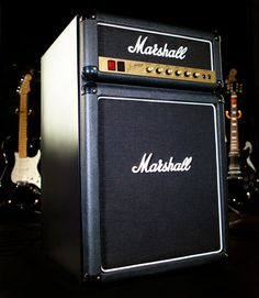 It may look like a Marshall amp but it is actually a fridge! And the knobs on the fridge go up to 11. Really!  It's the coolest fridge out there.