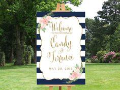 Willkommen Sie-Poster Streifen Blau und weiß mit Blumen Aquarell, Zeichen des Willkommens für druckbare Hochzeit Blumen, Shirley-Sammlung