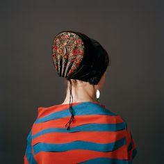 Europe | Portrait of a young Danish woman wearing traditional headdress, a 'Guldnakke', Denmark | © Trine Søndergaard #embroidery #cap