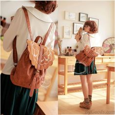 Fresh Brown Folk Embroidered Leather Backpack
