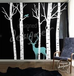 Tree Wall Decal Wall Sticker Art  -tree with Deer animal wall decal dd1008