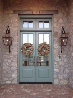 Bevolo gas lights on beautiful stone house Love the doors too Front Door Paint Colors, Painted Front Doors, Colored Front Doors, Porta Colonial, Country Front Door, Unique Front Doors, Front French Doors, Double Front Entry Doors, Double Door Wreaths