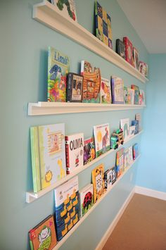 Bookshelves for baby's books/pictures - could totally do this to display video games