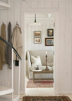 House Tour: Towd Point Cottage -- white-washed paneling