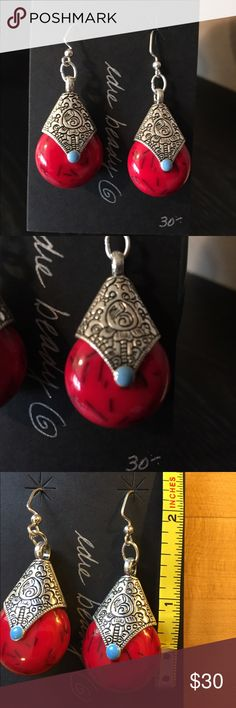 """NWT Gorgeous ethnic inspired earrings Dramatic red and silver earrings with tiny blue accent. Hand made, one of a kind with sterling silver filled wires. A little over 2"""" drop, 1"""" wide. These are beautiful statement earrings! Jewelry Earrings"""
