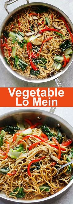 Vegetable Lo Mein - easy and healthy Lo Mein noodles with bok choy, bell peppers and mushrooms, this recipe is much better than Chinese restaurants or takeout | rasamalaysia.com