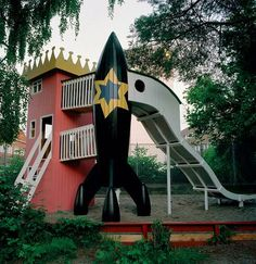 """The Rocket and Princess Tower in Copenhagen combines a typical """"girl"""" playground with a typical """"boy"""" playground. It was the first playground MONSTRUM ever built. Playground Design, Backyard Playground, Cubby Houses, Play Houses, Princess Tower, Cool Playgrounds, Jungle Gym, Outdoor Fun, Kids Playing"""