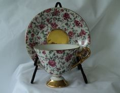 Vintage Burgundy Chintz Rose Teacup and by OurBarefootCottage.etsy.com