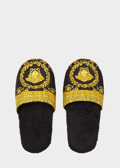 I ♡ Baroque Bath Slippers by Versace Home. I ♡ Baroque luxury bath slippers in absorbent, soft cotton. Bronze Bathroom Accessories, Versace Brand, Louis Vuitton Boots, Simple Bathroom Designs, Versace Handbags, Luxury Duvet Covers, Luxury Lingerie, Luxury Shoes, Shoes