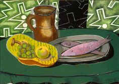 Georges Braque, Still Life with Pink Fish, 1937. Collection of the Indianapolis Museum of Art. on ArtStack #georges-braque #art