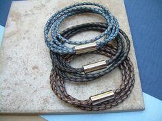 Double Strand Double Wrap Leather Bracelet by UrbanSurvivalGearUSA