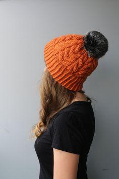 Wool & Acrylic Hat / Faux Fur Pom Pom Beanie / Cable Knit / Slouchy Beanie / Orange / Pumpkin / Spice / Burnt Orange / Carrot / Red-Yellow