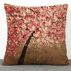 3D Flowers Pattern Printed Cushion Cover Indian by PureIndianArt
