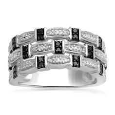 Jewelili Sterling Silver 1/6ct Black and White Diamond Band Ring, Size 7 *** Check this awesome product by going to the link at the image. (This is an Amazon Affiliate link and I receive a commission for the sales)