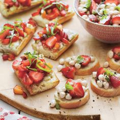 Usher in the warm days of spring and summer with Strawberry Bruschetta. This refreshing mixture of nectarine, grape tomatoes, strawberries, and basil are served over baguette slices with slatherings of goat cheese.