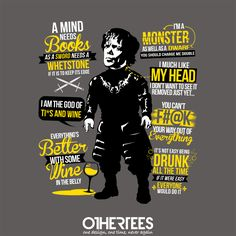 """The Imp Quotes"" by TomTrager on sale until 12th September at Othertees.com Pin it for a chance at a FREE TEE! #gameofthrones #imp #lannisters #peterdinklage #tyrion #tyrionlannister #georgerrmartin #othertees"