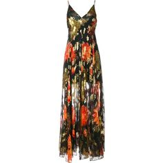Haney Michelle maxi dress ($3,890) ❤ liked on Polyvore featuring dresses, multi color maxi dress, floral dresses, flower print maxi dress, floral day dress and brown dress