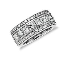 Gala Princess Cut and Pavé Diamond Eternity Ring in 18k White Gold (6.5 ct. tw.) #BlueNile