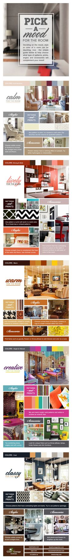 How to Effortlessly Build a Certain Mood for Your Room [Infographic] - http://freshome.com/2013/09/26/how-to-effortlessly-pick-a-mood-for-your-room-infographic/