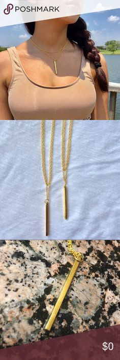 ✨Gold Bar Necklace✨ ✨Gold Bar Necklace✨ Made in 🇺🇸USA🇺🇸  14 & 15 inches. Bar length is 1.5 inches Gold Plated (also available in silver) Jewelry Necklaces