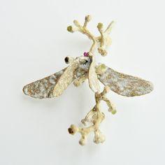 Brooch-----Angel moth Material: sterling silver, enamel with natural green garnet Dimensions: 9cm x 8.5cm x3.5cm