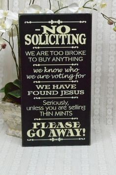 No Soliciting Sign, Thin Mints Sign, Front Porch Sign, 9.5x18 Wood Sign