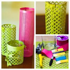Inspiration: Metal wrapped cylinder vases: Design Master® Sprays - 790 Olive Bright & 766 Raspberry Supplies: Cylinder vases, Metal Grates, Ribbon, Sharpie, Tin Snips, Sandpaper Instructions: 1. Paint the metal grates with Design Master Sprays 2. Lay the vase you will cover on its side and use it to measure the cut point on the metal grate. 3. Use tin snips to cut the grate and sandpaper to sand the sharp edge. 4. Wrap the cylinder vase with the metal grate and hold it together by weaving…