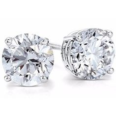 Solitaire Stud Earrings White Gold Solid 14Kt Round Cut Screwback .5 Carat Studs by JewelryHub on Opensky